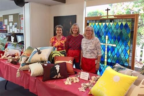 Women Selling Pillows